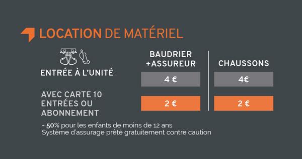 tarifs location matériel Climb Up Dijon